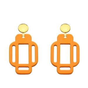 Orange eckige Ohrringe aus Horn