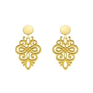 Gelbe Ohrringe aus Horn mit Goldstecker von Romy North