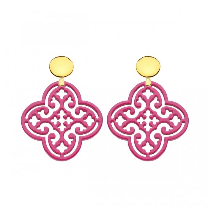 Ohrringe Pink in Blumenform aus Horn mit Goldstecker von Romy North