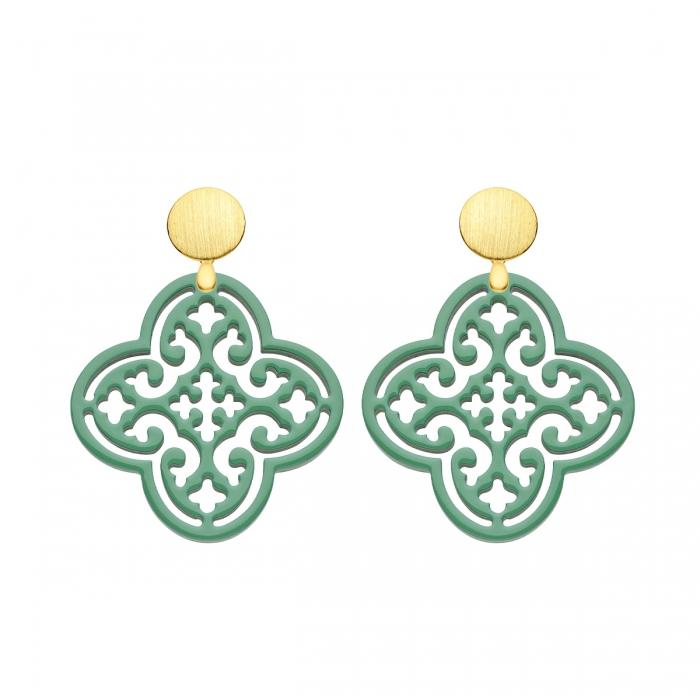 Ohrringe Grün in Blattform aus Horn mit matte Goldstecker von Romy North