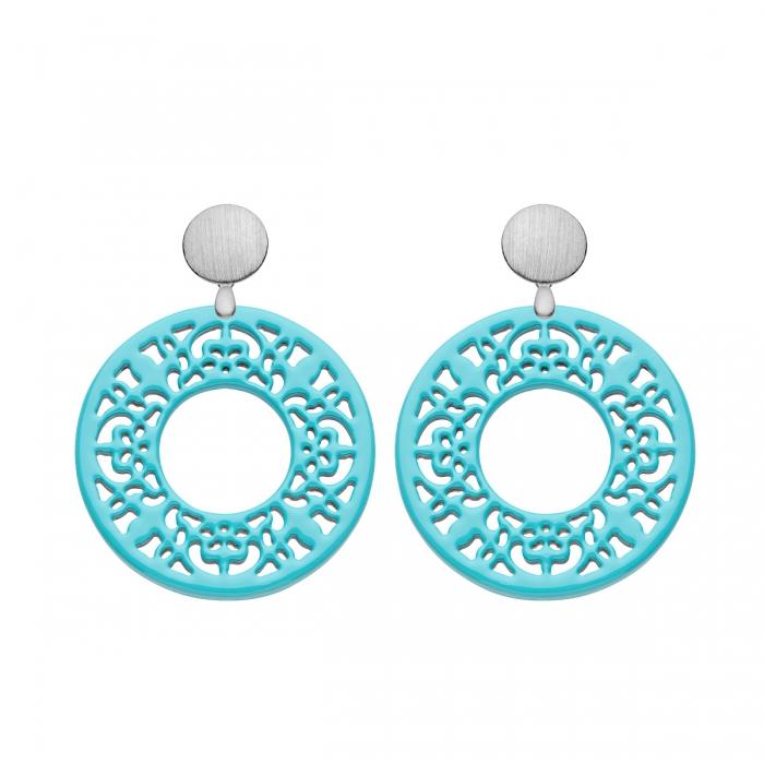 Ohrringe Silber in Aqua Lackierung in runder Form mit Ornamenten von Romy North