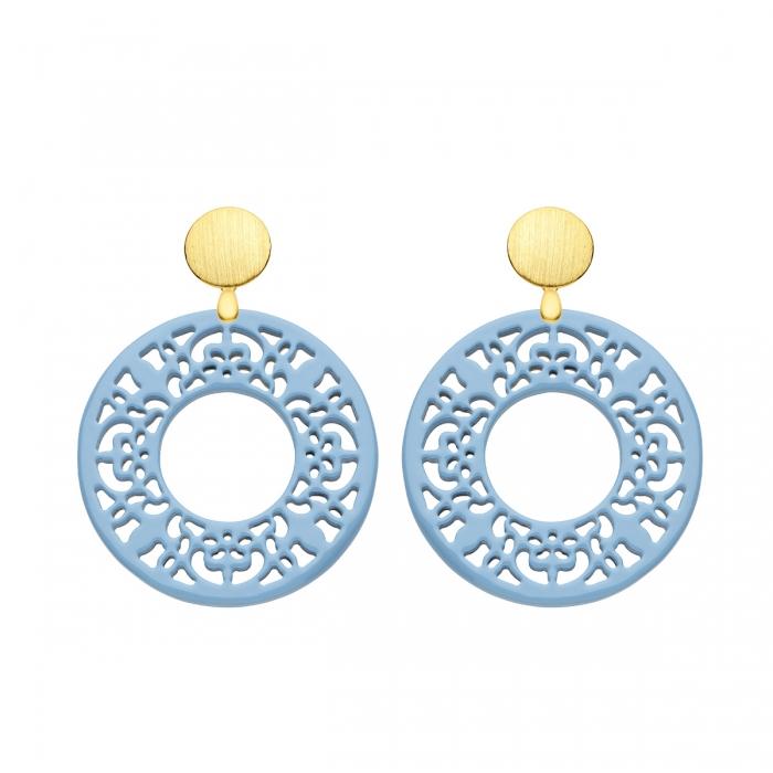 Ohrringe Stecker rund in Blau mit Ornamenten aus Horn mit matte Goldstecker von Romy North