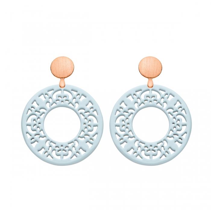 Ohrringe Damen Blau aus Horn mit Ornamenten mit matte Rosestecker von Romy North