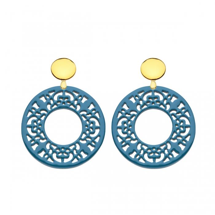 Ohrringe Horn jeansblau in runder Form aus Horn mit Goldstecker von Romy North