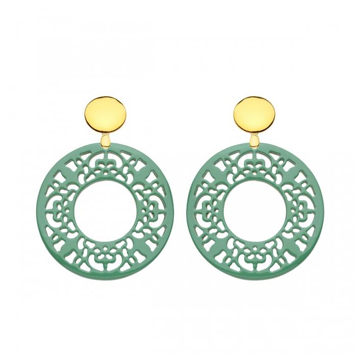 Runde Ohrringe Ohrschmuck Gold Grün aus Horn mit Goldstecker von Romy North