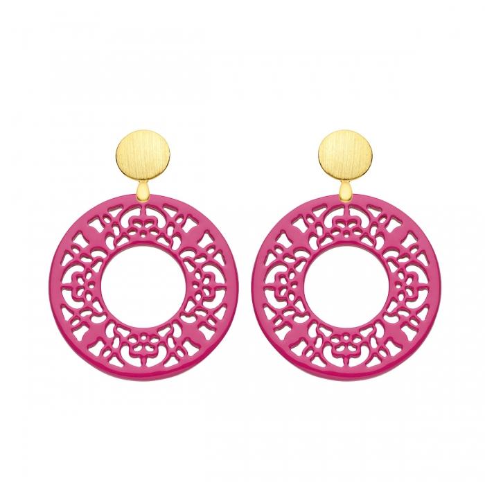 Ohrringe Pink in runder Form mit Ornamenten mit matte Goldstecker von Romy North