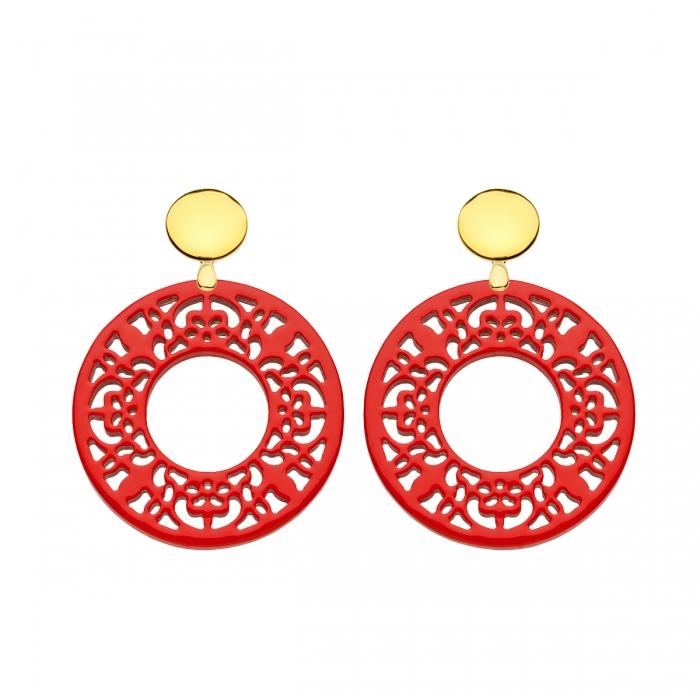 Ohrringe rot in runder Form aus Horn mit Ornamenten und Goldstecker von Romy North