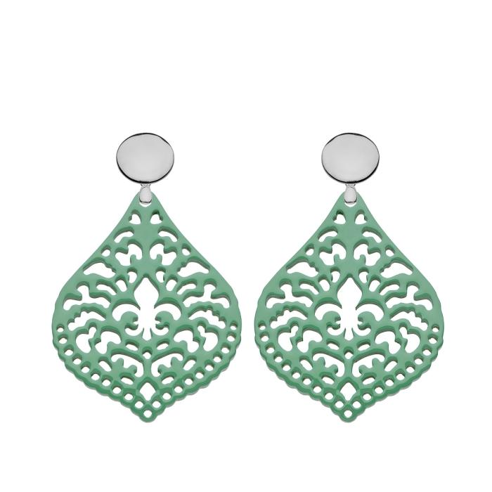 Ohrringe grün aus Horn mit Ornamente mit Silberstecker von Romy North