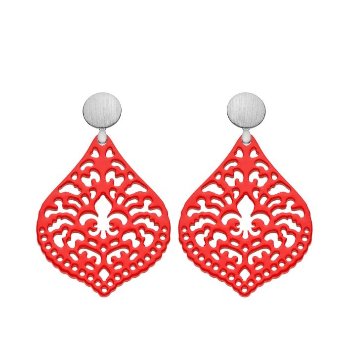 Ohrringe Rot in Tropfenform aus Horn mit matte Silberstecker von Romy North