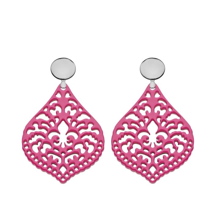 Ohrringe pink in Tropfenform aus Horn mit Silberstecker von Romy North