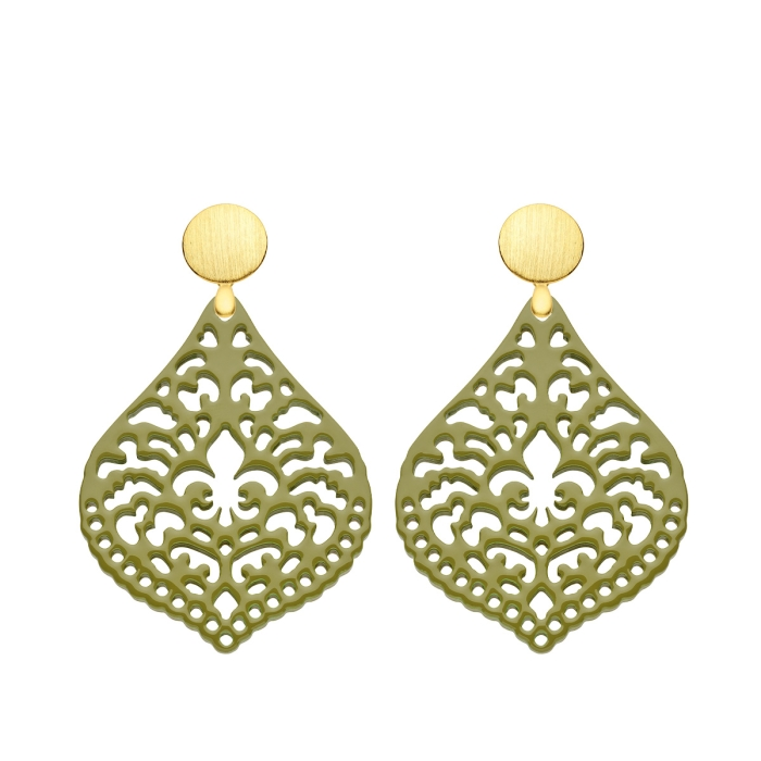 Ohrringe hängend in Oliv aus Horn mit Ornamenten mit matte Goldstecker von Romy North