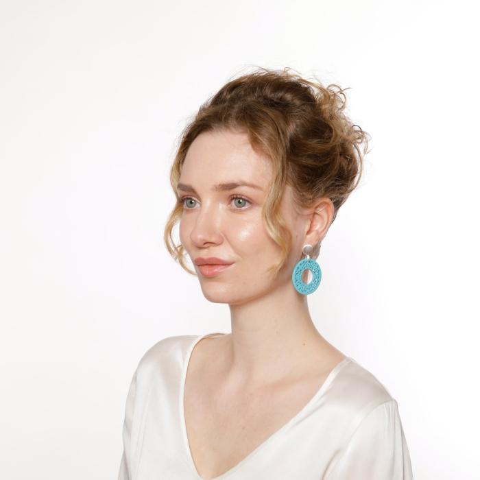 Ohrringe Türkis in runder Form aus Horn mit matte Silberstecker von Romy North