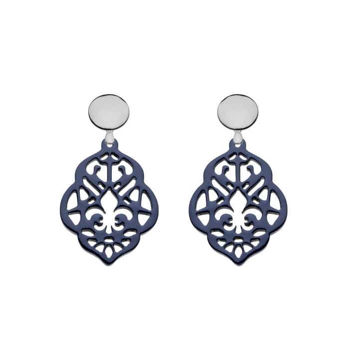 Kleine Ohrringe blau mit Ornamente aus Horn mit Silberstecker von Romy North