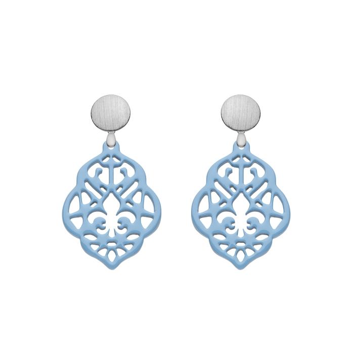 Ohrschmuck Blau aus Horn mit Ornamenten und matte Silberstecker von Romy North