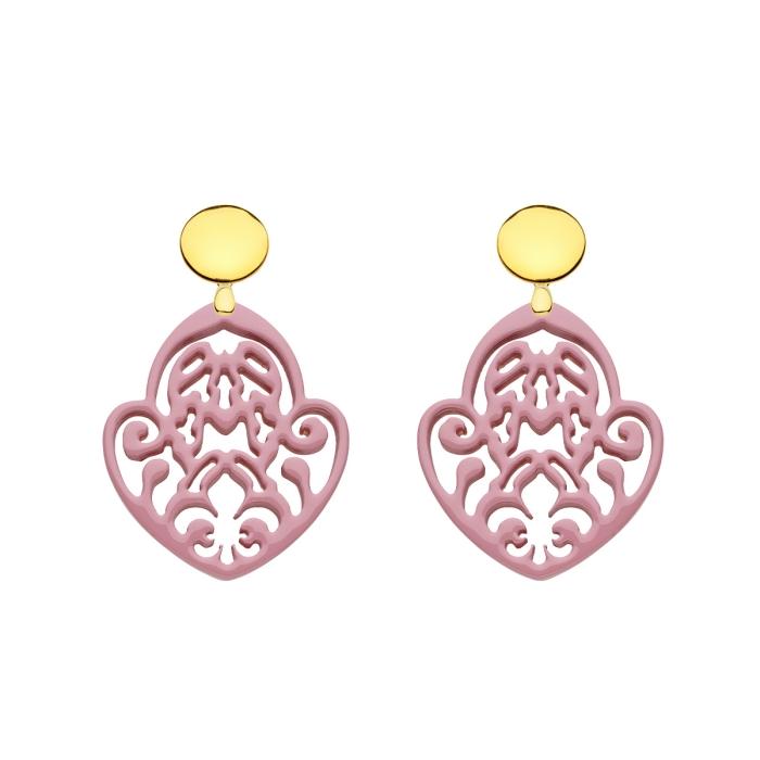 Ohrringe Rose mit Ornamenten aus Horn mit Goldstecker von Romy North