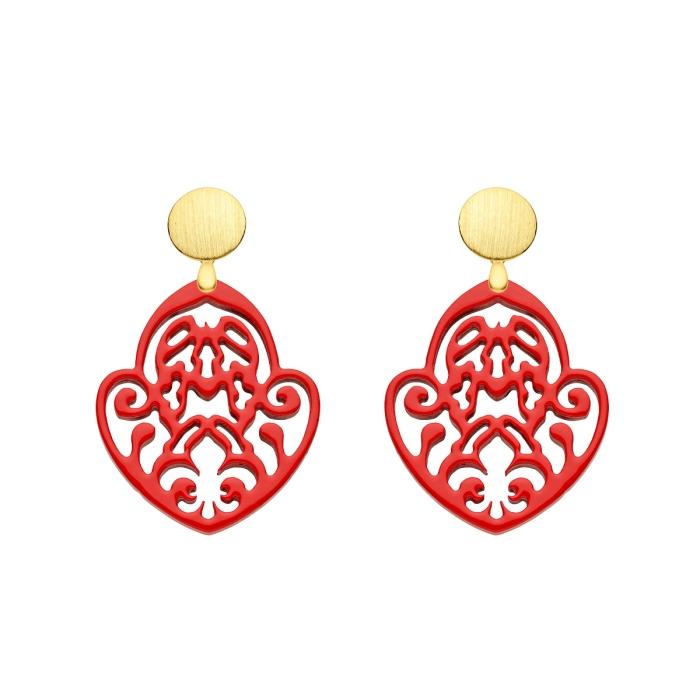 Ohrringe Rot mit Ornamente aus geschnitztem Norn mit matte Goldstecker von Romy North