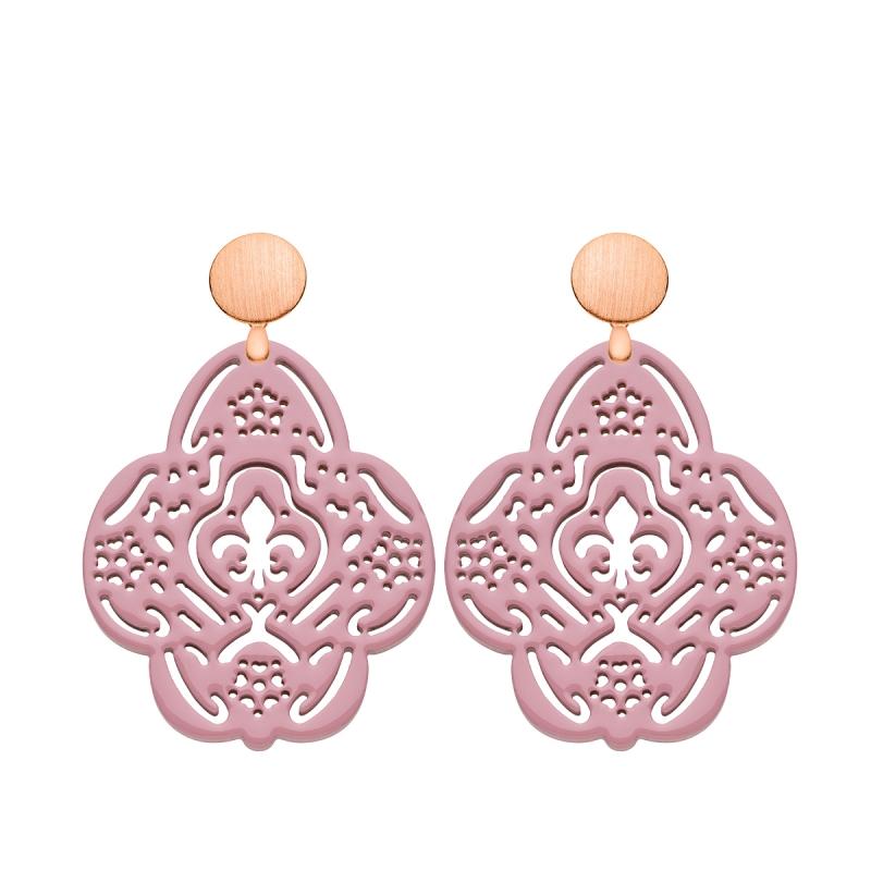 Schöne Ohrringe Groß in Altrosa aus Horn mit Rosestecker von Romy North