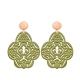 Große Ohrringe Olivgrün aus Horn mit Rosestecker von Romy North