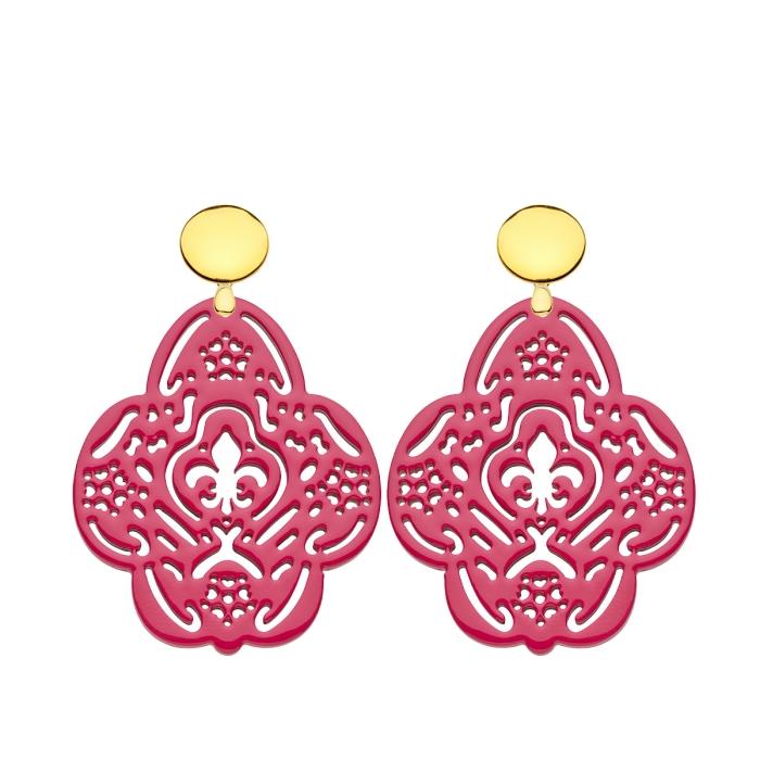 Ohrringe Pink aus Horn in Blütenform mit Goldstecker von Romy North
