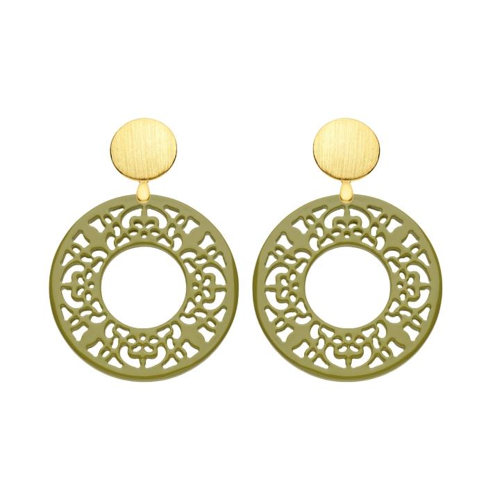 Horn Ohrringe rund in Olivgrün mit Gold Wechselsystem von Romy North