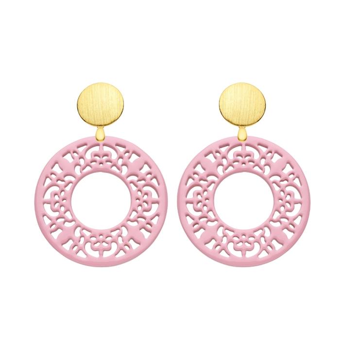 Ohrringe rosa in runder Form aus Horn mit Wechselsystem in Gold von Romy North