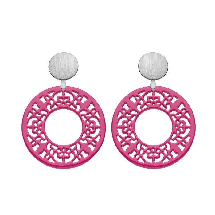 Ohrringe Pink runde Ohrringe mit Wechselsystem aus Silber von Romy North