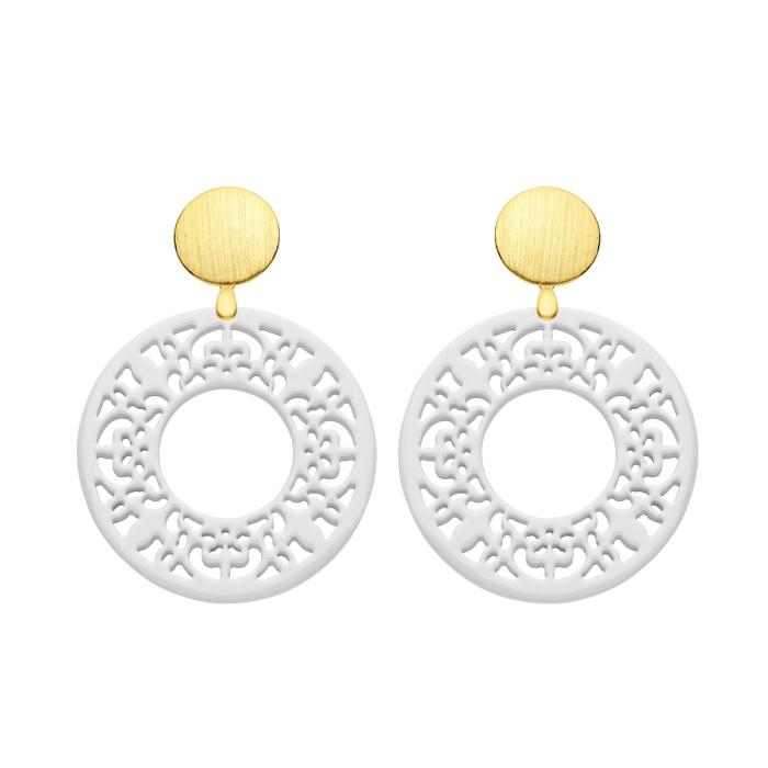 Ohrringe weiß rund mit Wechselsystem in Gold von Romy North